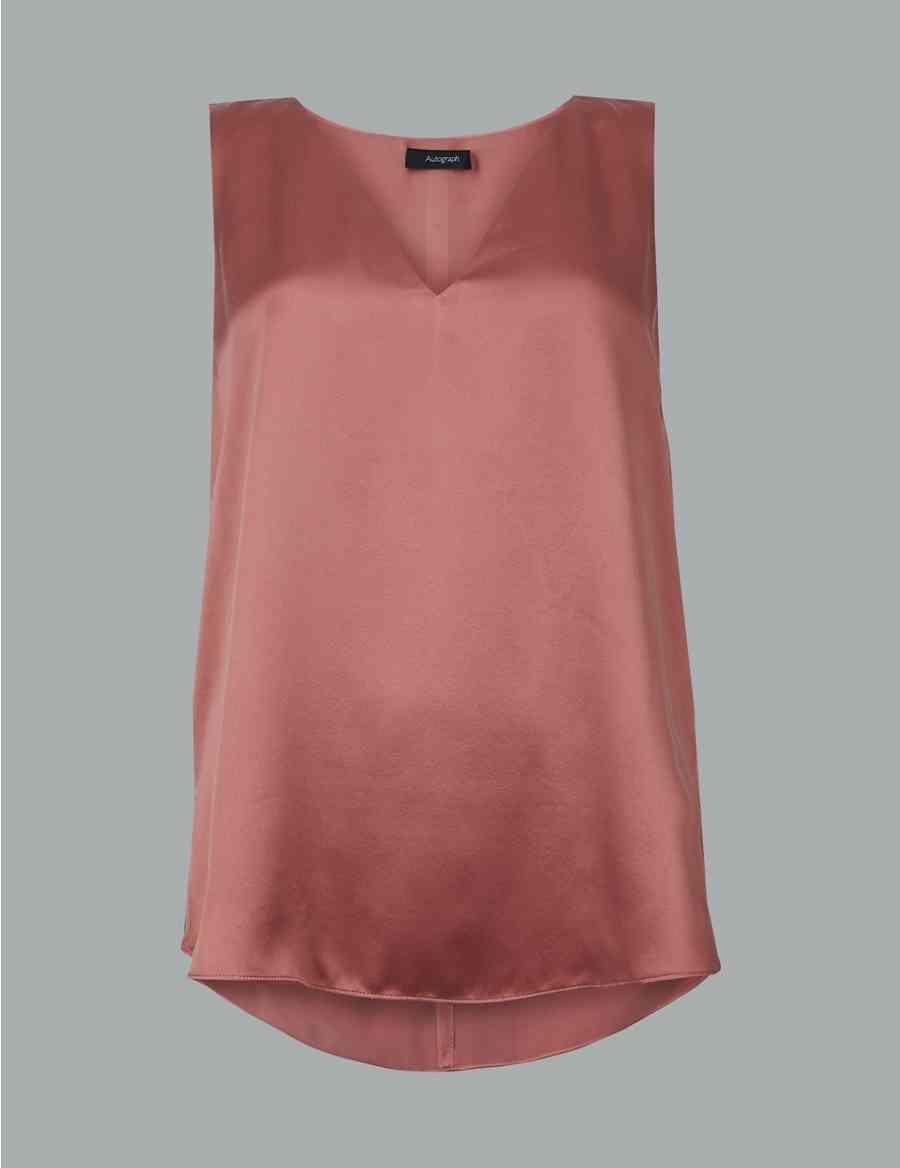 2cf1334d22d677 Pure Silk V-Neck Sleeveless Blouse