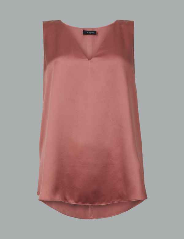 Pure Silk V-Neck Sleeveless Blouse 38a9d6115ef9
