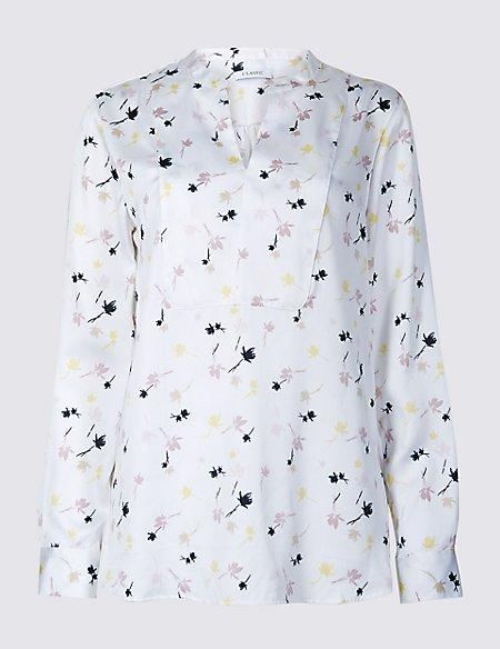 Floral Print Notch Neck Long Sleeve Blouse