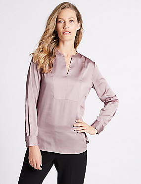 Satin Notch Neck Long Sleeve Blouse