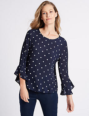 Printed Round Neck Long Sleeve Shell Top