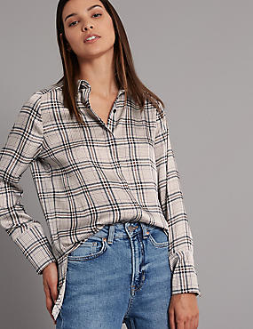 7737374a92d Oversized Checked Longline Shirt ...