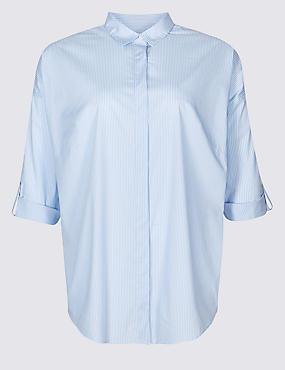 CURVE Cotton Rich Striped Long Sleeve Shirt