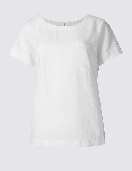 Pure Linen Short Sleeve Shell Top