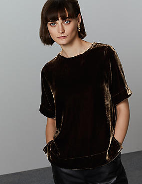 Velvet Half Sleeve Shell Top with Silk