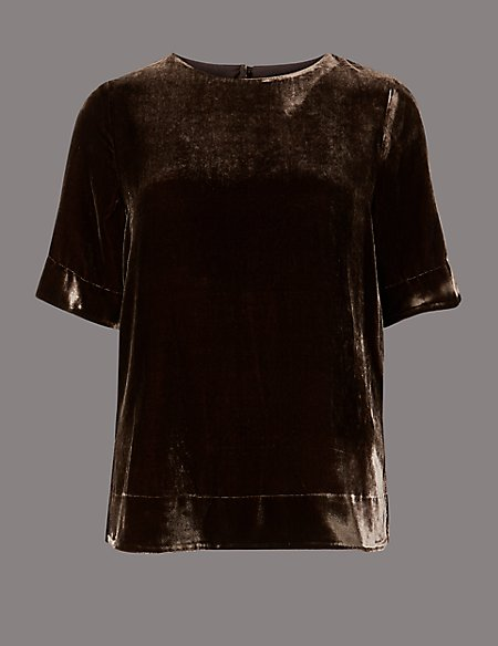 Velvet Half Sleeve Shell Top with Silk