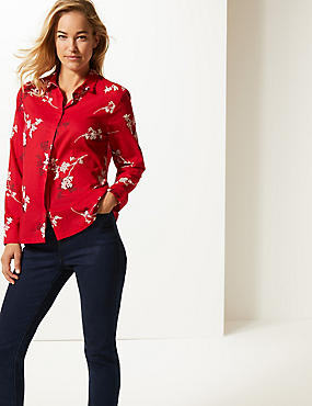 Pure Cotton Floral Print Long Sleeve Shirt