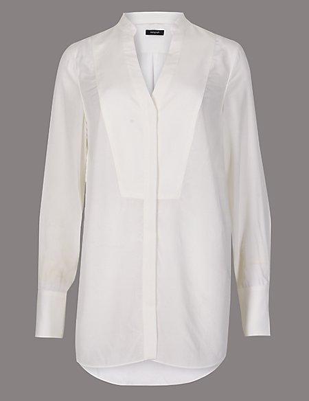Notch Neck Long Sleeve Blouse