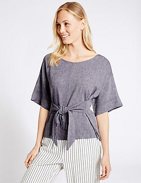 Linen Rich Tie Front Half Sleeve Shell Top