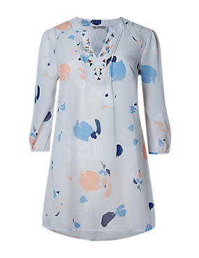 PETITE Abstract Print Embellished Top