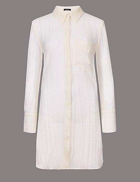 Textured Longline Long Sleeve Shirt