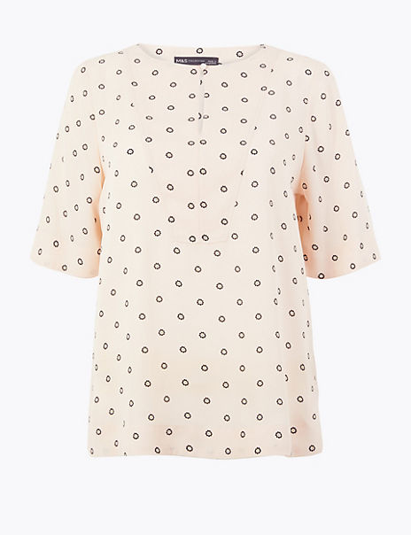 Printed Button Detail Top