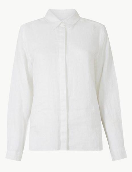 Pure Linen Button Detailed Shirt