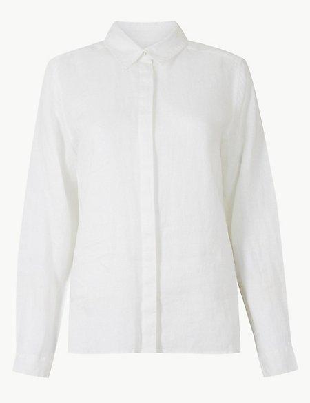 Pure Linen Button Detailed Long Sleeve Shirt