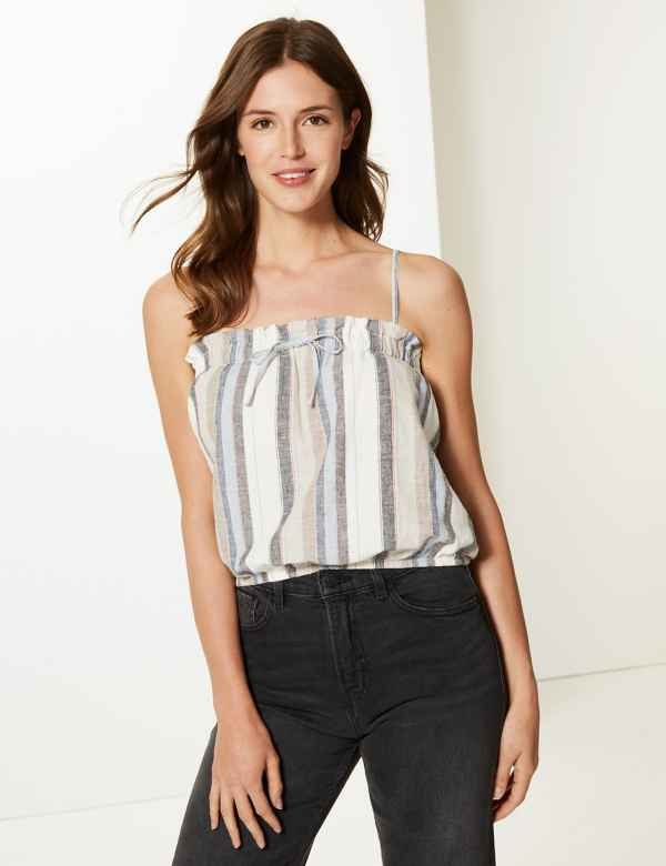 31698816dd3995 Cotton Rich Striped Square Neck Camisole Top