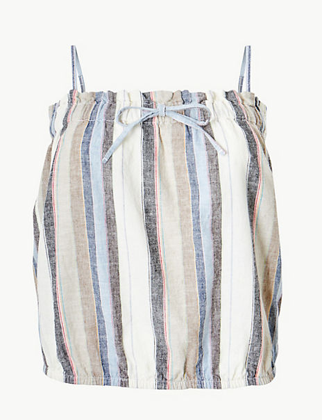 Linen Rich Striped Camisole Top