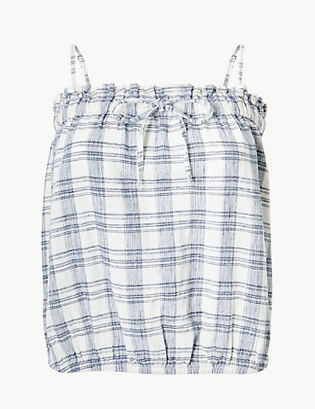 Cotton Rich Checked Square Neck Camisole Top