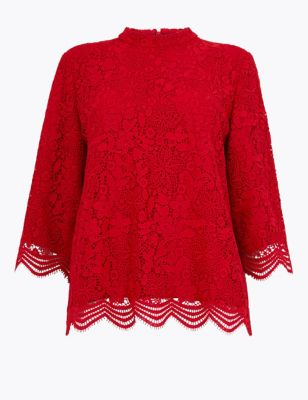 Lace 3/4 Sleeve Blouse by Marks & Spencer