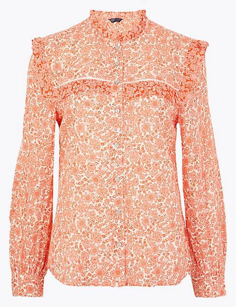 Cotton Blend Floral Print Blouse