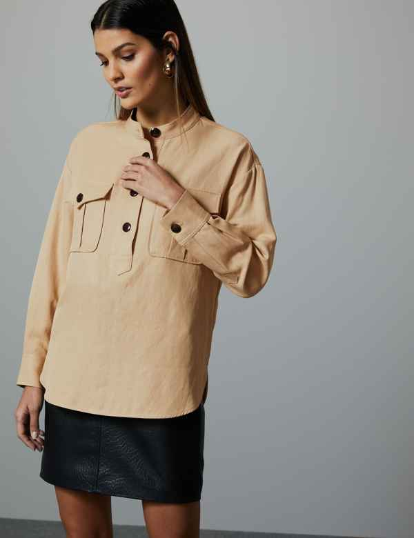 4a6ca564cff High Neck Long Sleeve Shirt with Linen