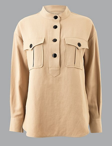 High Neck Long Sleeve Shirt with Linen