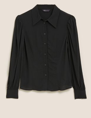 Crepe Collared Fitted Long Sleeve Shirt