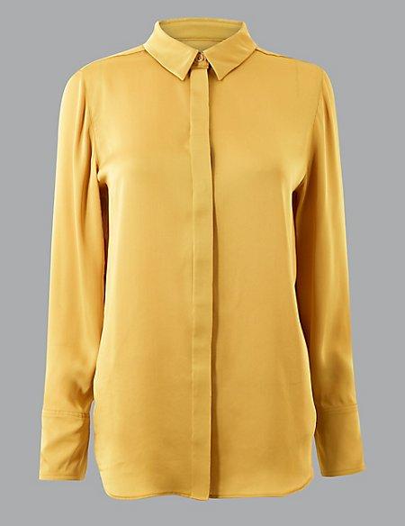 Satin Button Detailed Long Sleeve Shirt