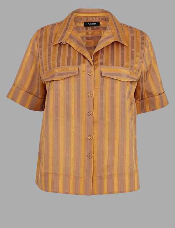 e5f437c1e2 Cotton Blend Striped Cropped Boxy Shirt