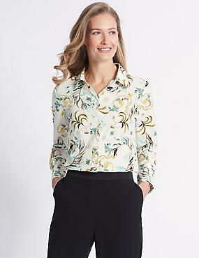 Floral print Crepe Long Sleeve Shirt