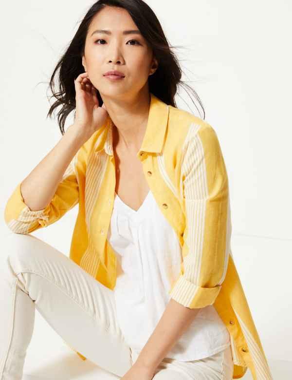 6b2668ee6b5e Pure Cotton Striped Button Detailed Shirt