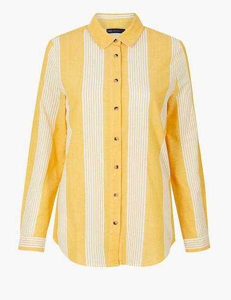 Pure Cotton Striped Button Detailed Shirt