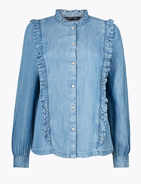 Button Detailed Ruffled Blouse