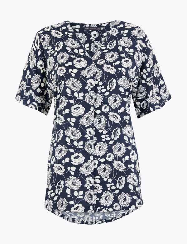 NEXT Viscose Cream Floral Print Short Sleeve Top