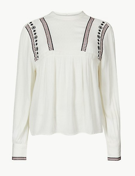 Embroidered High Neck Long Sleeve Blouse