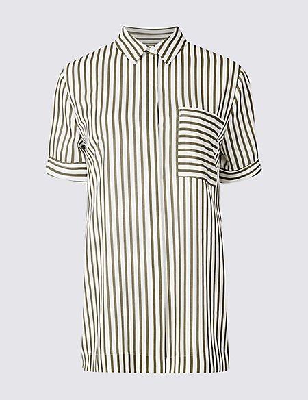 Striped Longline Short Sleeve Shirt