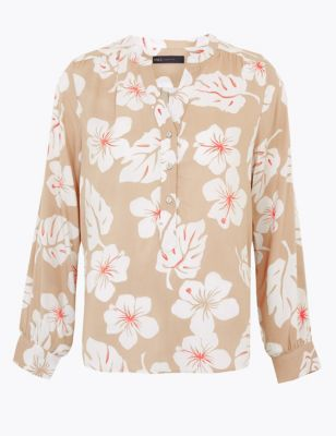 Printed Long Sleeve Popover Blouse