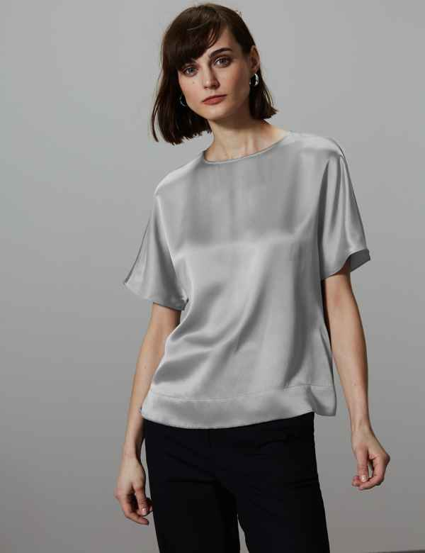1cea6cce7a3ad Pure Silk Round Neck Short Sleeve Shell Top