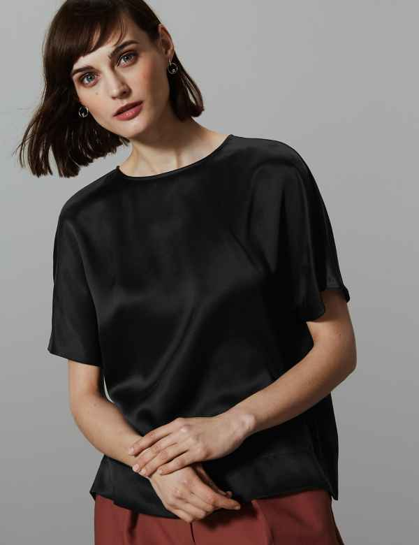 3715f5dbee0a4 Pure Silk Round Neck Short Sleeve Shell Top