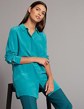 Pure Silk Longline Long Sleeve Shirt
