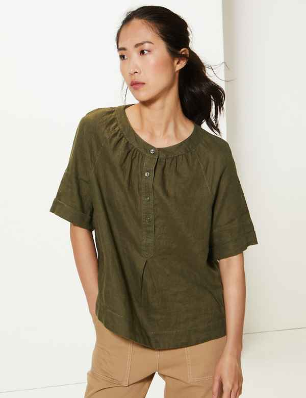 1741f869a05 M&S Collection Womens Shirts & Blouses | Linen & Silk | M&S