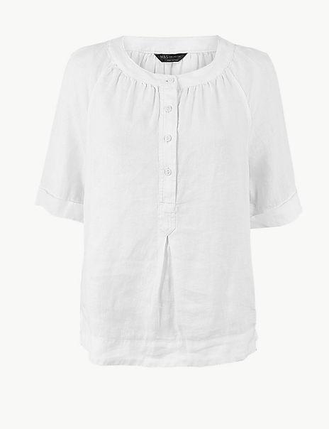 Pure Linen Button Detailed Blouse