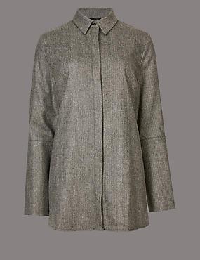 Split Cuff Long Sleeve Tweed Shirt