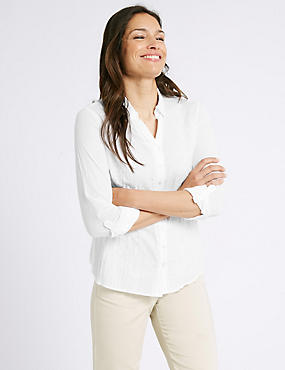Pure Cotton Crinkle 3/4 Sleeve Shirt
