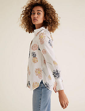 Satin Dandelion Print Long Sleeve Shirt