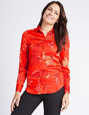 Floral Print Satin Long Sleeve Shirt