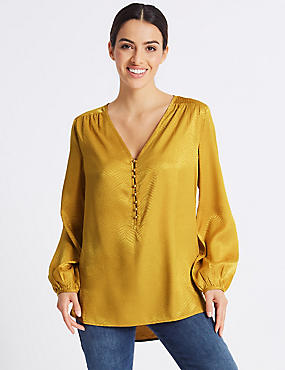 Textured Satin V-Neck Long Sleeve Blouse
