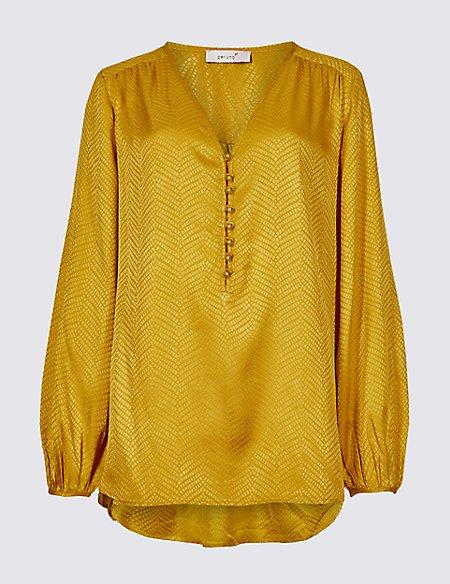 Textured Satin V-Neck Long Sleeve Blouse