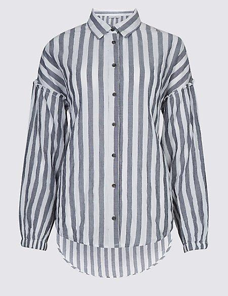 Cotton Rich Striped Longline Shirt