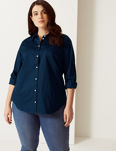 CURVE Cotton Rich Fuller Bust Shirt