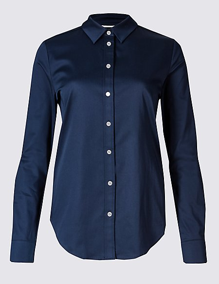 PETITE Cotton Rich Long Sleeve Shirt